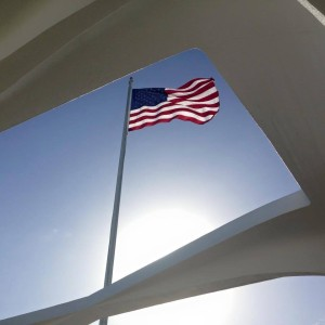 An American flag as seen from the Visitor's Center