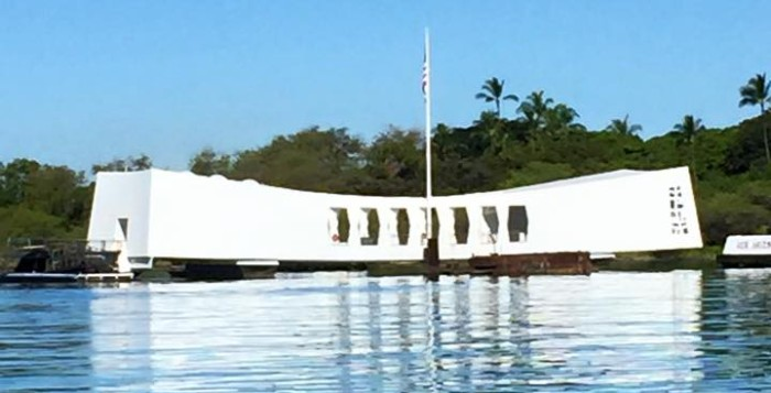 USS arizona memorial monument at Pearl Harbor
