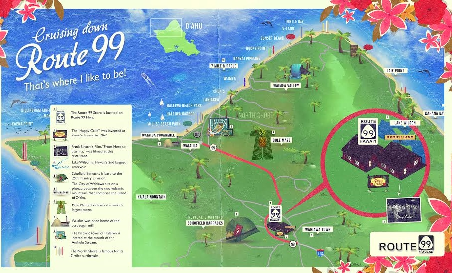 Forget Route 66 Hawaii has Route 99 – Oahu Tourist Attractions Map