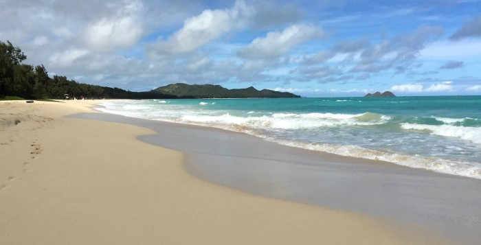 Looking down the coast at Waimanalo Beach