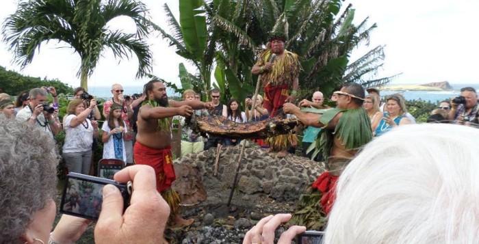 hawaiians raising pig after being steamed