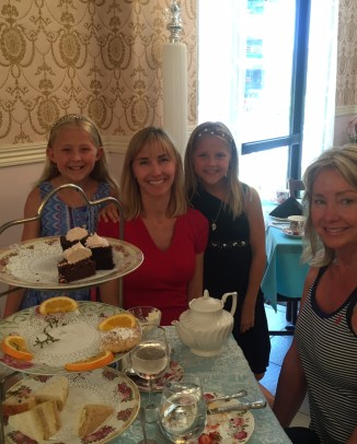 The writer with her two daughters and mother at A Cup of Tea.