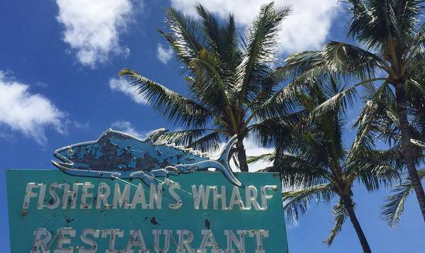 The Fisherman's Wharf sign in Honolulu.