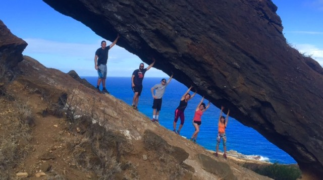 Five people hiking in Hawaii