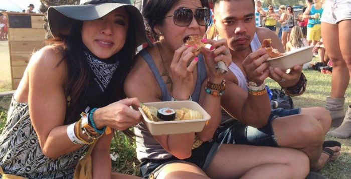 people eating shrimp, katsu and local burgers