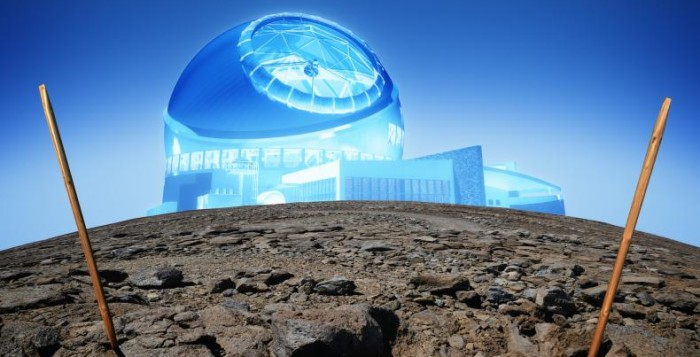 A rendering of what the TMT would look like atop Mauna Kea