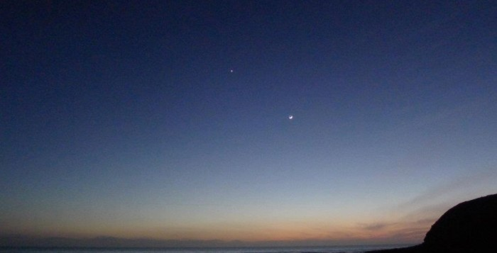 Venus and Jupiter in the night sky.