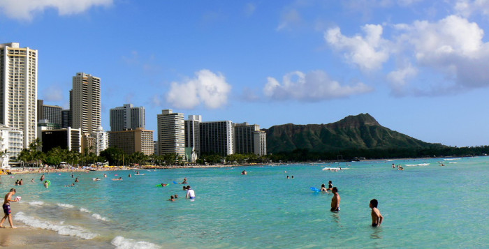 A view of Diamond Head from the beach.