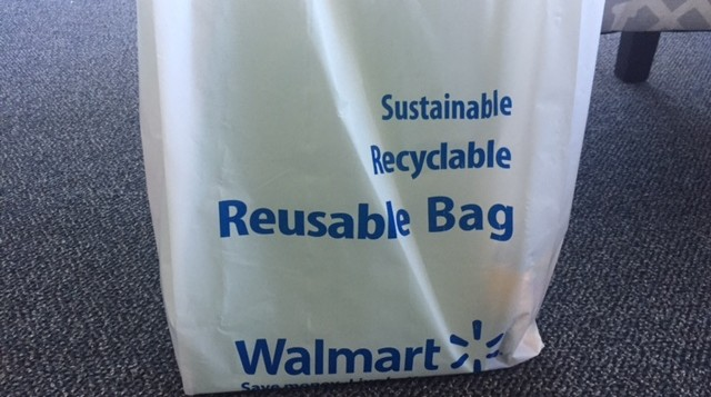 A reusable plastic bag from Wal Mart