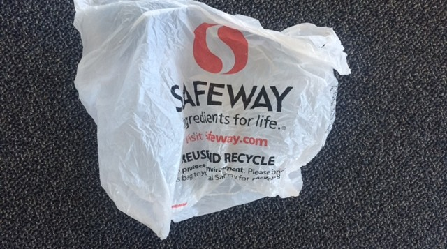 A plastic bag from Safeway
