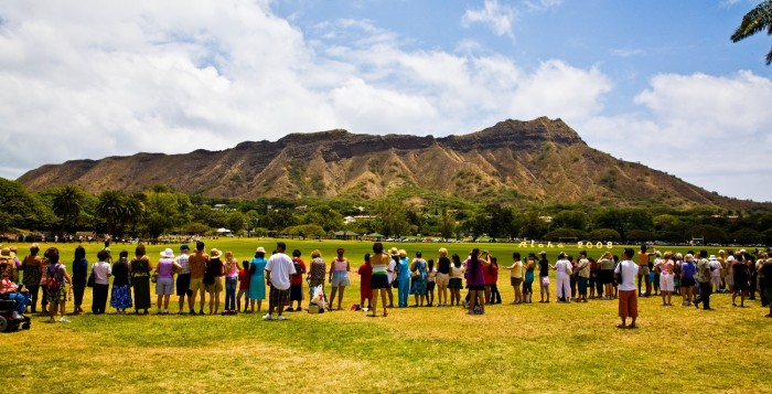 diamond head with a group of people in front