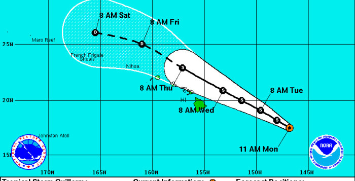 projected path of tropical storm guillermo