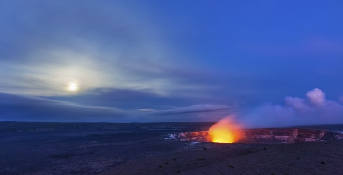lava glowing in the night at hawaii volcanoes national park