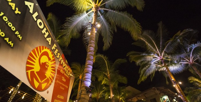 banner and palm tree during the Aloha Festivals