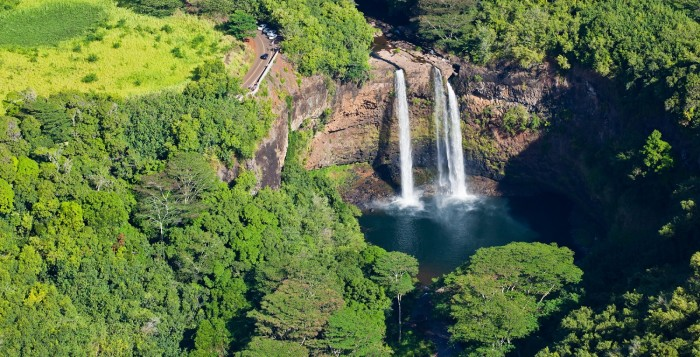 a view of waterfalls on Kauai