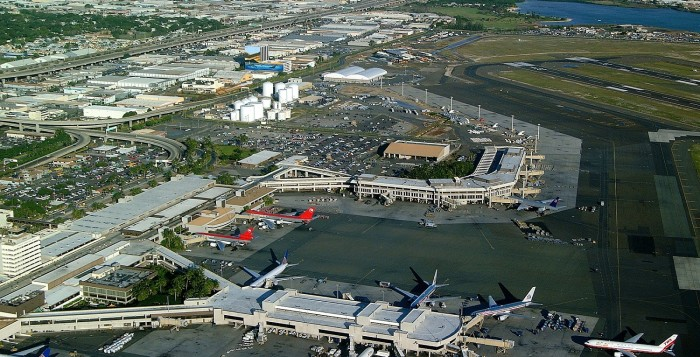 an aerial view of the honolulu international aiport