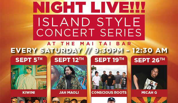 a poster of live music performances at the mai tai bar