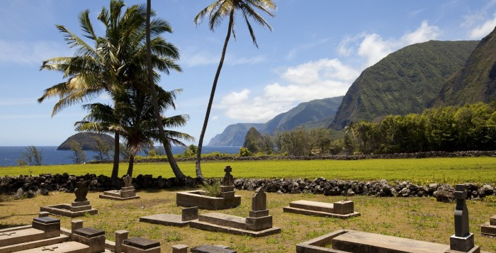 the cemetery at st. philhomena church in kalaupapa on molokai