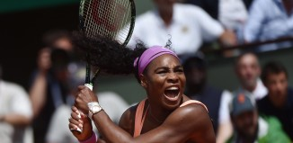 Serena Williams with her tennis racquet