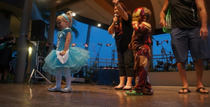 children on stage for a costume contest