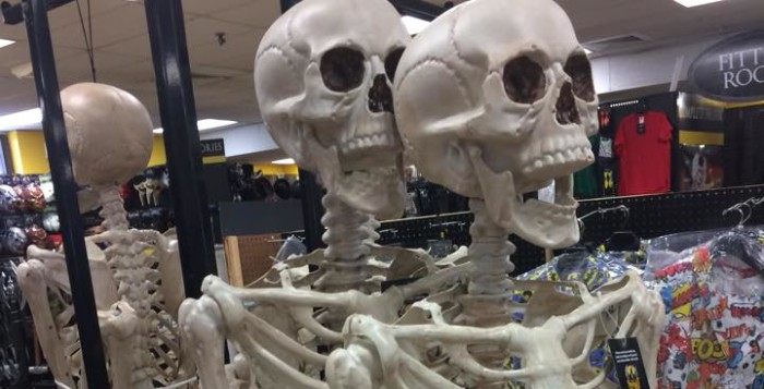 two skeletons in a Halloween store