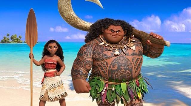animated characters Moana and Maui