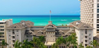 An exterior view of the Moana Surfrider, a Westin Resort and Spa