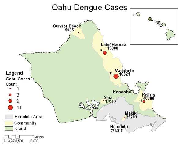 map of oahu highlighting dengue fever cases