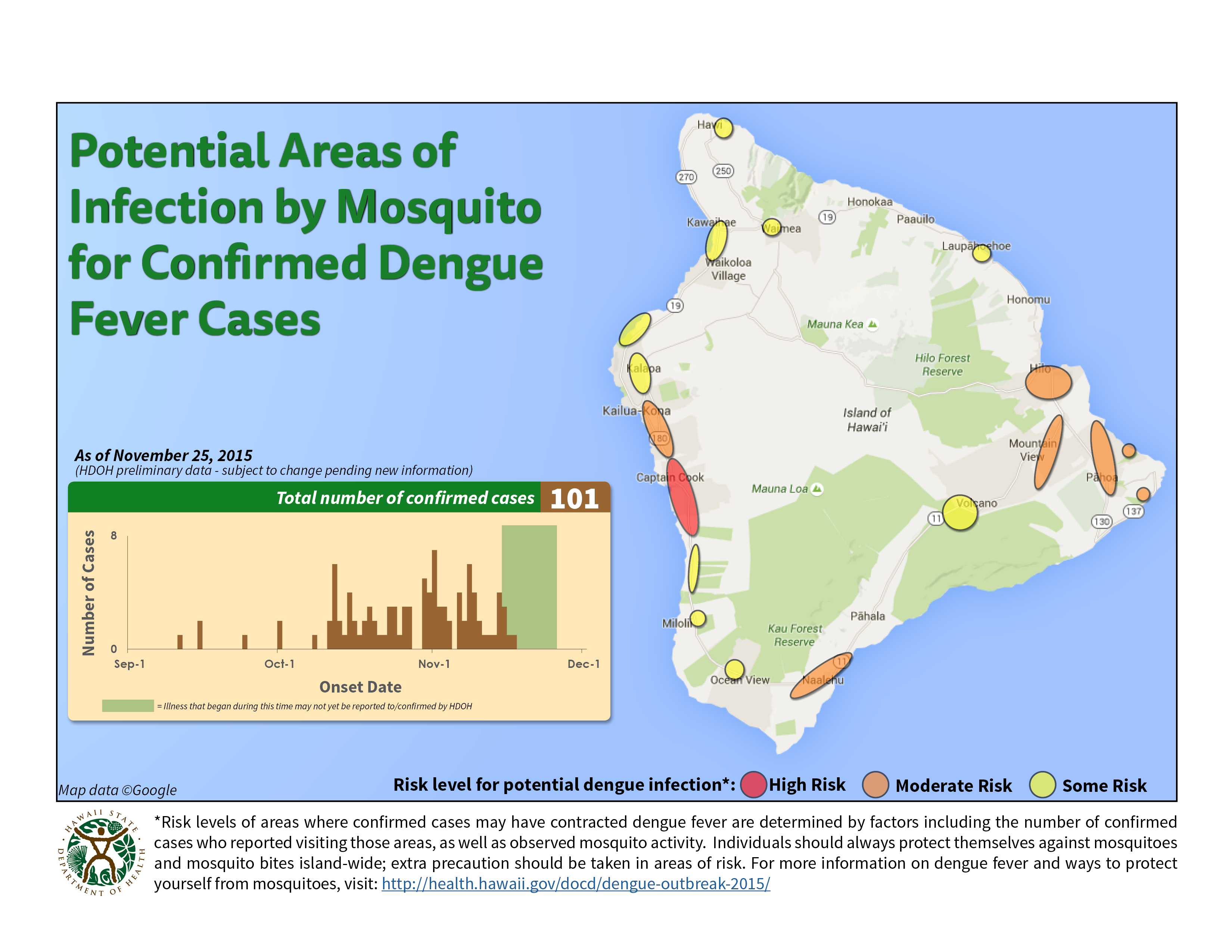 a map of the big island showing where there have been cases of dengue fever
