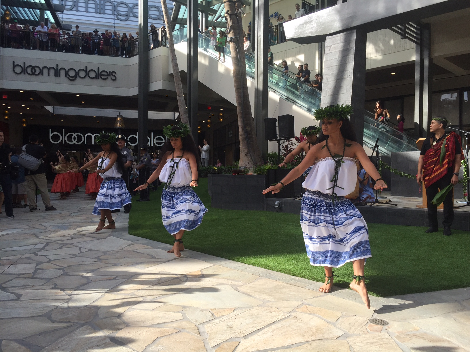 three hula dancers