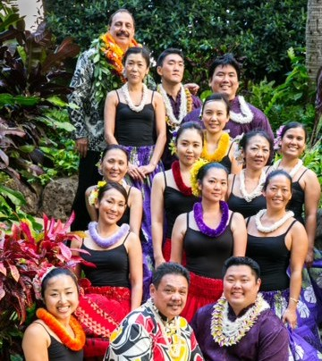 a halau of hula dancers