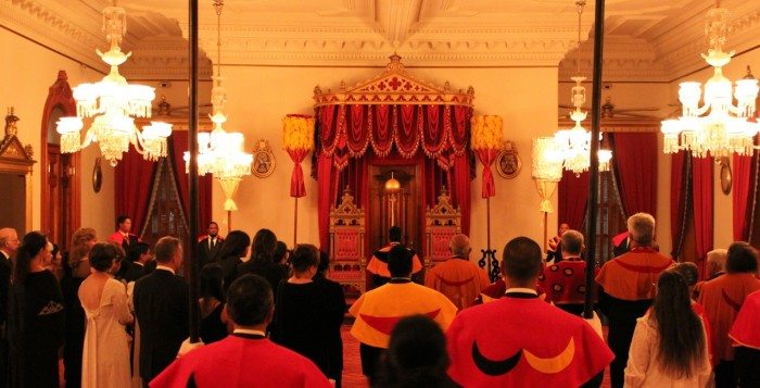 the procession for installing kahili in iolani palace