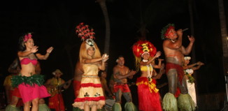 a luau with dancers