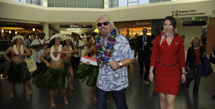 sir richard branson at the honolulu international airport