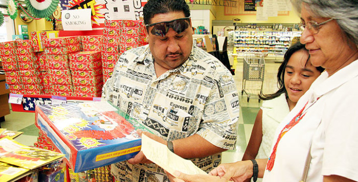 a man buying fireworks