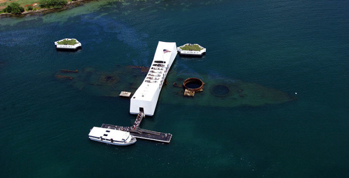 a large view of the uss arizona memorial