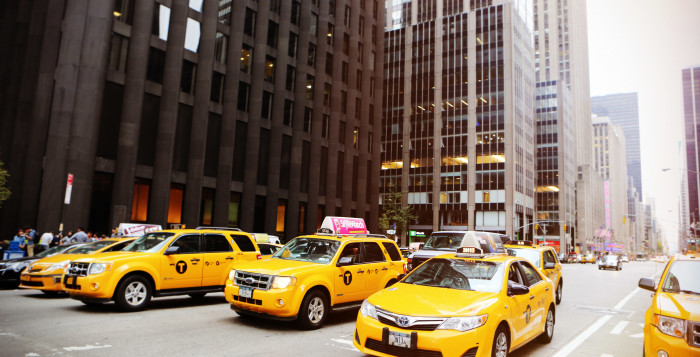 a line of taxicabs