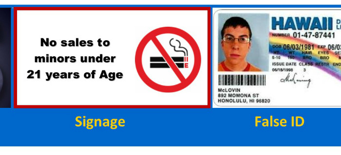 a sign showing the new smoking age of 21