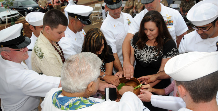 a hawaiian blessing with people in a circle