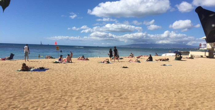 people on waikiki beach