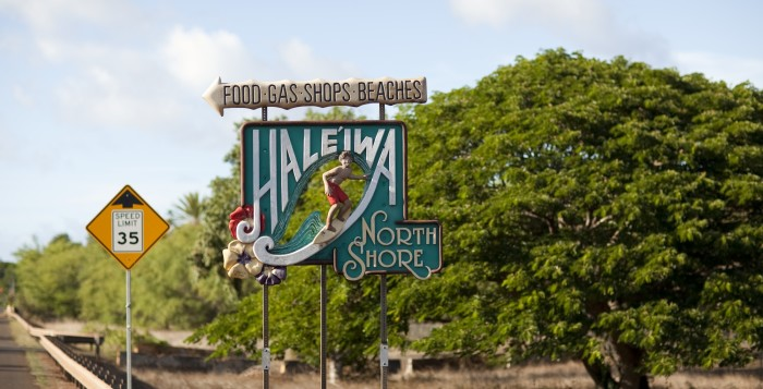 the sign to haleiwa