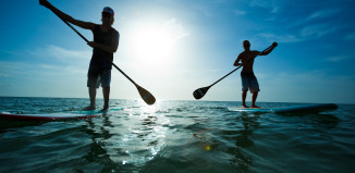 two stand-up paddle boarders on the ocean
