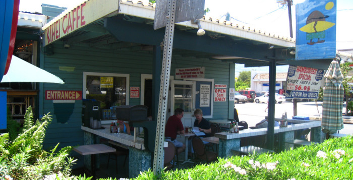 an exterior shot of the kihei caffe on maui