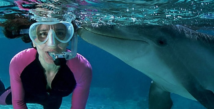 a woman swimming next to a dolphin
