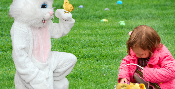 the easter bunny and a child