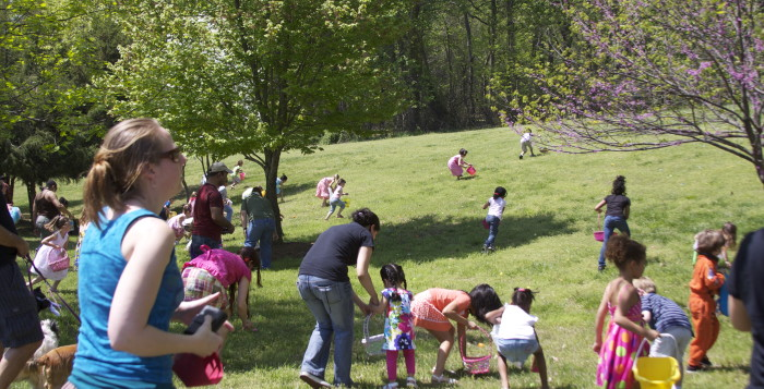 people at an easter egg hunt