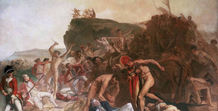 a painting of the death of captain james cook