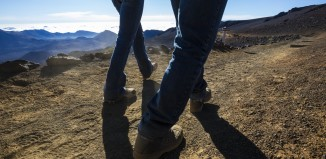 two people hiking, shot of bottom half of their bodies