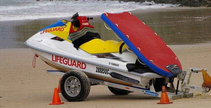 a lifeguard personal watercraft