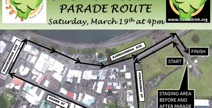 a parade route for the 3rd annual hilo st. patrick's day parade